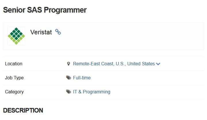 Senior SAS Programmer job example